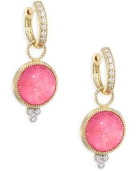 Jude Frances - Provence Diamond, Mother-of-pearl & Dark Rhodolite Earring Charms - Lyst