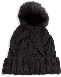 Loro Piana - Cashmere Chunky Knit Beanie Hat W/ Fur Pompom - Lyst