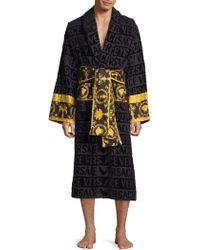 Versace - Logo Toweling Baroque Bathrobe - Lyst