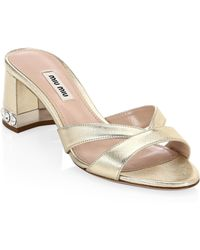 Miu Miu - Crystal Block-heel Sandals - Lyst