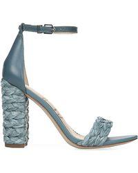 Sam Edelman - Yoana Raffia Block-heel Sandals - Lyst