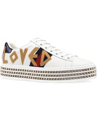 Gucci - New Ace Loved Leather Sneakers - Lyst