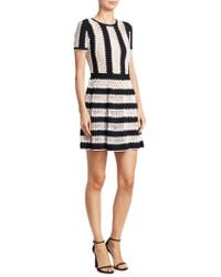 Carolina Herrera - Striped Lace Dress - Lyst