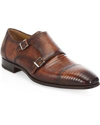 Saks Fifth Avenue - Magnannni Lizard Monk Cap Toe Shoes - Lyst
