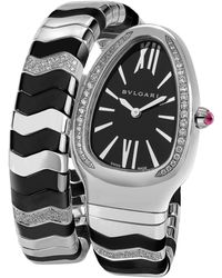 BVLGARI | Serpenti Diamond, Ceramic & Stainless Steel Turbogas Bracelet Watch | Lyst