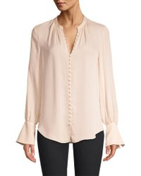 Joie - Tariana Silk Covered Button Blouse - Lyst