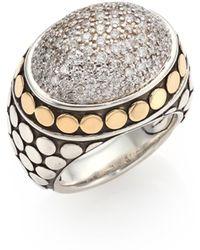 John Hardy - Dot Diamond, 18k Yellow Gold & Sterling Silver Dome Ring - Lyst