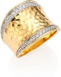 John Hardy - Classic Chain Pave Diamond & 18k Yellow Gold Hammered Saddle Ring - Lyst