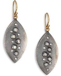 Rene Escobar - Small Diamond, Sterling Silver & 18k Yellow Gold Leaf Drop Earrings - Lyst