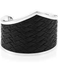 King Baby Studio - Armor Sterling Silver & Woven Leather Cuff - Lyst
