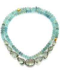 Lena Skadegard - Onda Green Amethyst, Aquamarine & 18k Yellow Gold Long Pebble Necklace - Lyst