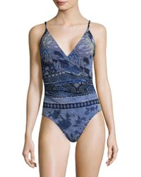 Fuzzi - Printed V-neck One-piece Swimsuit - Lyst