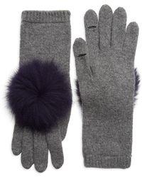 Eugenia Kim - Women's Sloane Pom-pom Fox Fur & Cashmere Gloves - Charcoal - Lyst