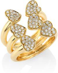 Hueb - Hearts Diamond & 18k Yellow Gold Open Ring - Lyst