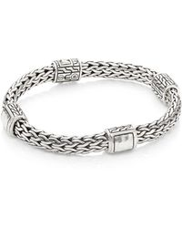 John Hardy - Classic Chain Hammered Silver Medium Four Station Bracelet - Lyst