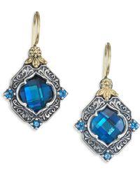 Konstantino - Thalassa London Blue Topaz, Sterling Silver & 18k Yellow Gold Drop Earrings - Lyst