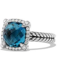 David Yurman - Chatelaine Pave Bezel Ring With Hampton Blue Topaz And Diamonds - Lyst