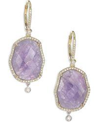 Meira T - Tanzanite, Mother-of-pearl, Diamond & 14k Yellow Gold Drop Earrings - Lyst
