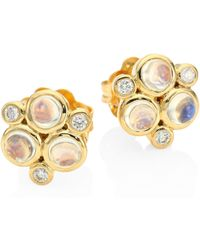 Temple St. Clair - Classic Color Diamond, Blue Moonstoon & 18k Yellow Gold Trio Earrings - Lyst