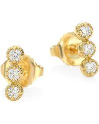 Hearts On Fire - 18k Yellow Gold Diamond Earrings - Lyst