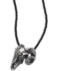 King Baby Studio - Sterling Silver Ram Skull Pendant Leather Necklace - Lyst