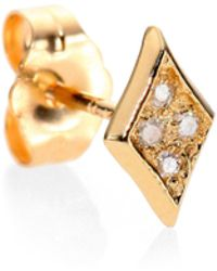 Jacquie Aiche - Diamond & 14k Yellow Gold Kite Single Stud Earring - Lyst