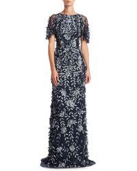 THEIA - Short Sleeve Petal Applique Gown - Lyst