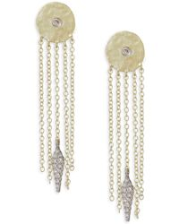 Meira T - Diamond Disc Chain Fringe Earrings - Lyst