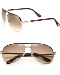 27b73a386d Tom Ford Cole Aviator Sunglasses in Black for Men - Lyst