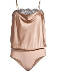 Cami NYC - Women's Romy Lace Trimmed Draped Silk Bodysuit - Cosmic - Lyst
