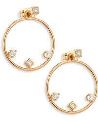 Zoe Chicco - Diamond & 14k Yellow Gold Hoop Earrings/1.25 - Lyst
