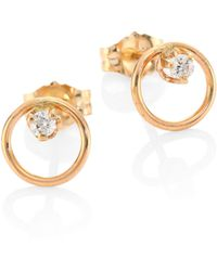 Zoe Chicco - Diamond & 14k Yellow Gold Circle Stud Earrings - Lyst