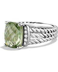 David Yurman - Petite Wheaton Ring With Prasiolite And Diamonds - Lyst
