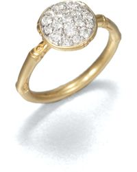 John Hardy - Bamboo Small Diamond & 18k Yellow Gold Round Ring - Lyst