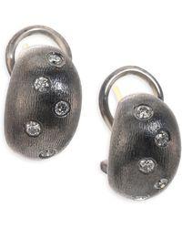 Rene Escobar - Emma Diamond & Sterling Silver Huggie Hoop Earrings - Lyst