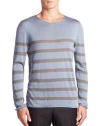 Giorgio Armani - Striped Cotton, Silk & Cashmere Jumper - Lyst
