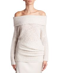 CALVIN KLEIN 205W39NYC - Doodle Off-the-shoulder Cashmere & Silk Tunic - Lyst