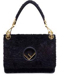 Fendi - Kan I Logo Velvet Shoulder Bag - Lyst