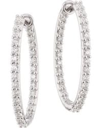 Hearts On Fire - Hof Classics 18k White Gold, Round Diamond & Crystal Inside-out Oval Hoop Earrings - Lyst