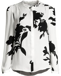 531b828784c1ea Joie - Women s Kayvan Silk Print Long-sleeve Blouse - Porcelain - Size  Small -