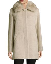 Sofia Cashmere - Fox Fur-trimmed Alpaca Wool Car Coat - Lyst