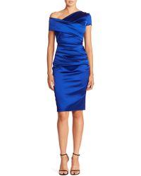 Talbot Runhof - Asymmetric Satin Dress - Lyst