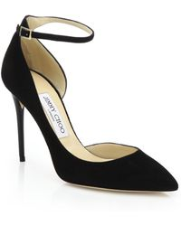 Jimmy Choo - Lucy 100 Suede Ankle-strap Pumps - Lyst