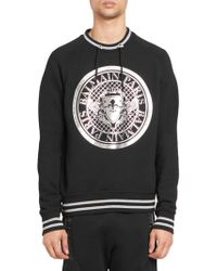 Balmain - Striped Coin Logo Sweatshirt - Lyst