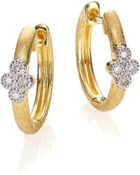 Jude Frances - Provence Diamond & 18k Yellow Gold Small Hoop Earrings/0.65 - Lyst