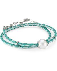 Majorica - Amazona Braided Double-wrap Imitation Pearl & Leather Bracelet - Lyst
