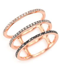 EF Collection - Black/white Diamond & 14k Rose Gold Fade Triple-band Ring - Lyst