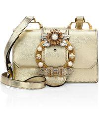Miu Miu - Women s Crystal-embellished Madras Metallic Leather Shoulder Bag  - Gold - Lyst 12cb263f24cc8