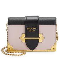 5626e8f933f1 Prada - Women's Small Cahier Leather Crossbody Bag - Grey - Lyst