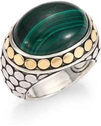 John Hardy | Batu Dot Malachite, 18k Yellow Gold & Sterling Silver Dome Ring | Lyst